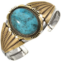 Blue Turquoise Gold Silver Bracelet 27035