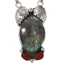 Navajo Turquoise Coral Y Necklace 17349