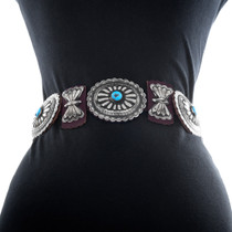 Authentic Navajo Hand Hammered Silver Western Concho Belt 25406