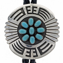Overlaid Silver Turquoise Bolo Tie 24821