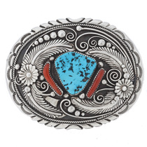 Turquoise Coral Navajo Belt Buckle 21187