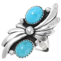 Two Stone Turquoise Sterling Ring 26210