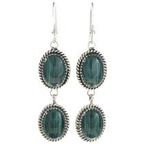 Two Stone Malachite Silver Earrings 29064
