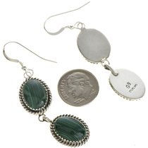 Sterling Malachite French Hook Earrings 29064