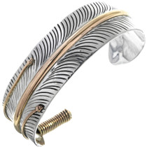 Navajo Gold Silver Feather Cuff 23566