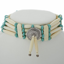 Turquoise Silver Indian Bone Choker 23276