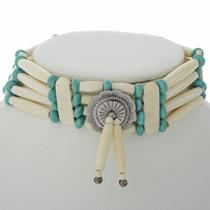 Turquoise Silver Indian Bone Choker 23276