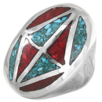 Turquoise Coral Silver Mens Ring 25520