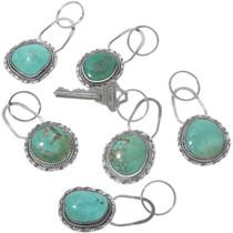 Navajo Turquoise Silver Key Ring 12942