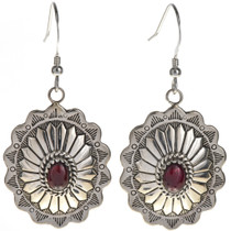 Garnet Silver Concho Earrings 28939