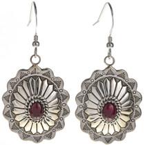 Garnet Silver Concho Earrings 28939