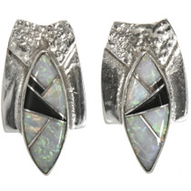Inlaid Opal Jet Silver Post Earrings 29692