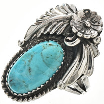 Turquoise Silver Navajo Ring 29220