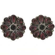 Garnet Onyx Silver Design Earrings 28873