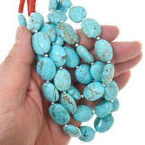 Spiderweb Turquoise Magnesite Chunky Bead Necklace 22338
