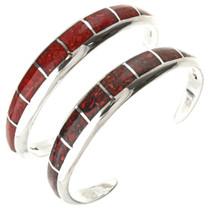 Navajo Inlaid Coral Sterling Bracelet 29657