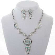 Inlaid Opal Shell Necklace Set 27947