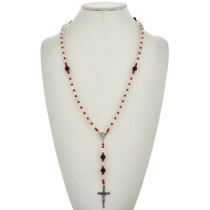 Navajo Coral Goldstone Rosary Necklace 21563