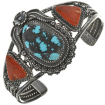 Turquoise Coral Navajo Cuff 28629
