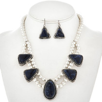 Denim Lapis Silver Bead Necklace Set 12767