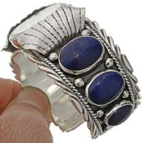 Lapis Sterling Navajo Watch Cuff 23454