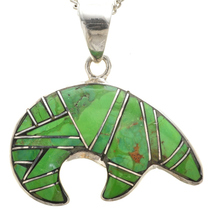 Green Turquoise Bear Pendant 29613