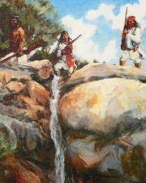 Geronimo on Cliff Native American Scene Painting 16375