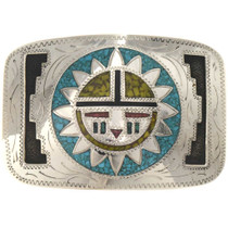 Hopi Sunface Engraved Silver Belt Buckle 19780