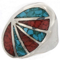 Turquoise Coral Mens Ring 25513