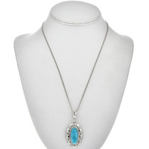 Turquoise Silver Navajo Pendant 29175