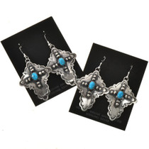 Native American Antiqued Turquoise Earrings 24492