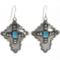 Navajo Hammered Silver Cross Earrings 24492