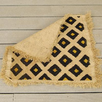 Mountain Grass Vintage Ojibwe Basketweave Rug Circa 1960's 2.4 Feet Square 0120