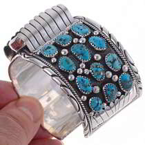Turquoise Cluster Navajo Watch Cuff  24528