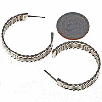 Sterling J Hoop Navajo Earrings 23128