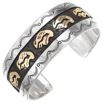 Navajo Gold Buffalo Silver Cuff Bracelet 28609