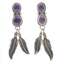 Navajo Amethyst Silver Post Dangle Earrings 29457