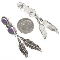 Sterling Feather Post Dangle Earrings 29457