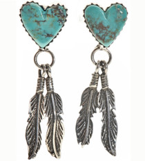Turquoise Heart Silver Earrings 16365