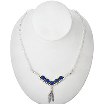 Blue Lapis Silver Vee Necklace 29250