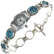 Turquoise Silver Link Watch 25248