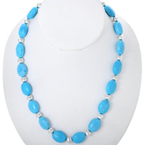 Turquoise Silver Navajo Necklace 25260