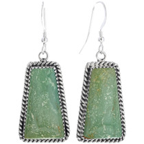 Green Turquoise Silver Navajo Earrings 28569