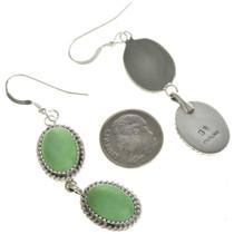 Green Turquoise Silver Dangle Earrings 29066