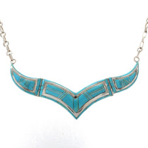 Inlaid Turquoise Silver Necklace 27734