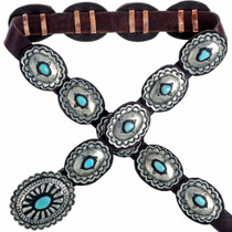 Navajo Turquoise Silver Concho Belt 22814