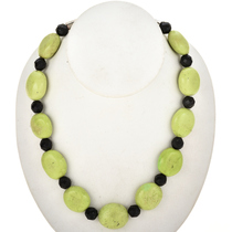 Green Turquoise Black Bead Navajo Necklace 29452