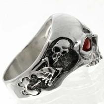 Silver Skull Coral Mens Ring 26740