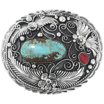 Kingman Turquoise Silver Belt Buckle 28036