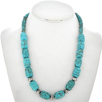 Turquoise Aztec Silver Beaded Necklace 23350